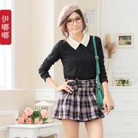 Girls Big Size XL,2XL,3XL Prepply Style Vintage England Plaids Bow Mini Sexy Skirts Free Shipping 18608