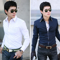 Autumn and winter elegant shirt male casual long-sleeve double layer collar shirt 100% long-sleeve slim shirt cotton male