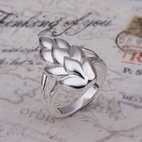 New Arrival ! R258 High Quality Fashion Jewelry 925 Silver Exquisite Feather Ring For Women+Free Shipping