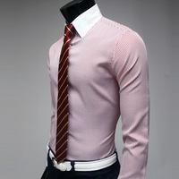 Spring and summer male peaked collar white collar fashion slim stripe long-sleeve shirt stripe shirt