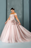 Princess Sweetheart Floor-Length Taffeta And Tulle Plus Size Wedding Dress With Flower HWGJWD102