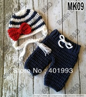 Free shipping Sailor style Baby Hat and Pants handmade crochet photography props newborn baby caps and pants
