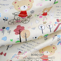 100%Cotton Fabrics,160cm*100cm,little bear ride a bike,perfect for diy,table cloth,clothes,bedding,2Colors,freeshipping,B2018401