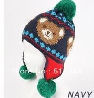 Wholesale BABY bomber caps boys and girls Cartoon bear plush hat knitting snow three Yarn Ball knitted caps  FREE SHIPPING