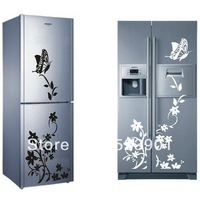 Hot Sale Butterfly Flower Fashion Refrigerator Wall Stickers Fridge Applique Magnets Wall Decals Home decor