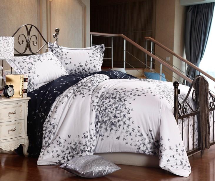 Luxo algodão egípcio borboleta consolador conjuntos de cama queen size capa de edredão cama em um saco colcha folha colcha de linho(China (Mainland))