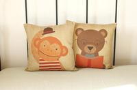 Cute Cartoon Animals Monkeys and Bear Cushion Cover Pillows Decorate Sofa 2pcs/lot Wholesale Free Shipping