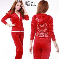 Free Shipping Women's Brand Velvet Tracksuits,Women Velours Suits,Sport Tracksuits,Hoodies & Pants 5 Color SIZE S--XL #JT25b
