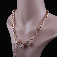 Women Lady Short Paragraph Three-dimensional Pendant Coarse Chain Necklace,