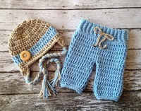 Free shipping 2 Designs Bowknot Style Baby Hat and Pants handmade crochet photography props newborn baby caps and pants