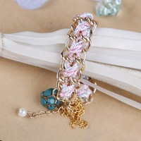 Women Lady Retro Mix Color Hand Made Luxury Chain Bracelet Bangle,