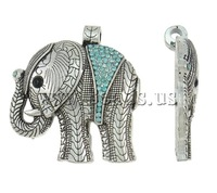 Free shipping!!!Zinc Alloy Animal Pendants,Vintage Jewelry, Elephant, antique silver color plated, with rhinestone, nickel