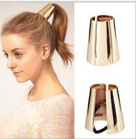 Free Shipping European Brand Retro Fashion Metalic Alloy Cone Punky Open Women Elastic Ring Rope Hiarband Hair Wear Wholesale