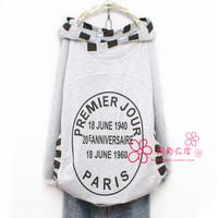 2014 new women's letter casual stand collar long-sleeve hooded shirt medium-long sweatshirt outerwear   print patterns Cartoon