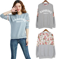 Autumn Lace Patchwork Batwing Sleeve 3D Flower Tops Pullover Sportswear Long Sleeve Casual Loose Shirt Sweatshirt Hoodies