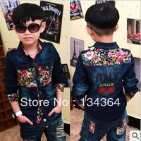 Free shipping! Boys floral shirt cowboy shirt stitching embroidered shirts wholesale children's clothing