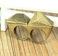 Free Shipping New Arrival Promotion Fashion 2013 Two pcs / lot Gold Plated Punk Rings Gothic Style For Unisex Jewelry