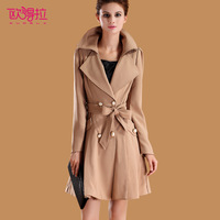 2013 autumn plus size clothing double breasted women's trench outerwear f3805