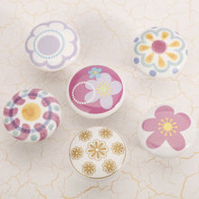 Colourful Flower Round Carton ceramic furniture handle High grade shoes cabinet knob Simple Fashion pulls for lovely children