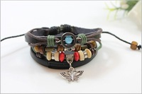 Free shipping 12pcs/lot Beautiful Butterfly Pulsera Handmade Rope Wrap Black Leather Bracelets And Bangles for Women QNW2057