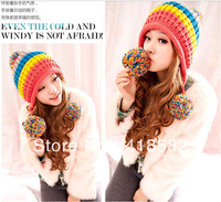 6 Colors Hot New 2014  rainbow  Beanie  Women's Winter Hat Knitting Wool Free Shipping--DM005