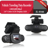 Free Shipping 2.0 Car DVR 480P Driving Recorder 120 degree Wide Angle Support 32GB SD/Portable Car Camera Camcorder DVR,JL-0166