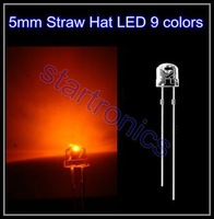 FreeShipping 5MM Straw Hat LED, 5MM Orange Ultra Bright LED Diode 100pcs
