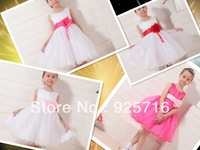 6pcs/lot big bowknot  princess dresses for children's girl have 4color dress for kids free shipping