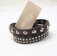 Free Shipping Fashion Punk Rock Kpop Wrap Rivet Stud Gold PU womens  bangles bracelets designer wholesale