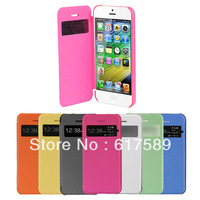 Window View Front Leather Hard Clear Back Case Cover For  iphone 5C +film
