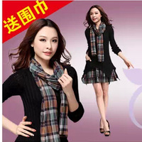 Free shipping!2013 Autumn Korea Women's Sweater dress Bohemia dress False two pieces Slim dress(Send scarf) Wholesale Price