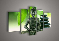 5 Panel Wall Art Religion Buddha Green Oil Painting