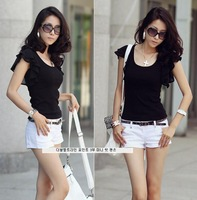 Free Shipping! 1PC New Arrival Black/White Fashion Women's Ladies Girls O-Neck Short Butterfly Sleeve Cotton T-Shirts