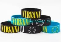 New! 5 pcs/lot, free shipping/ NIRVANA Wrist Band/ Silicone bracelet/1 inch Silicone wrist band