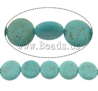 Free shipping!!!Turquoise Beads,Costume jewelry, Natural Turquoise, Flat Round, blue, 12x4.50mm, Hole:Approx 1mm