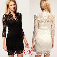 Wave 2013 autumn fashion cutout lace three quarter sleeve one-piece dress short skirt female