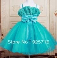 RETAIL-Baby Girls dress  flower high quality dress , princess green big bowkot tutu dress  FREE SHIPPING