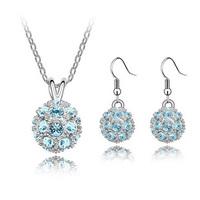 Wholesale shamballa crystal jewelry set fashion crystal earrings + neckalce set wedding jewelry shamballa jewelry