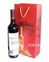 [Free Shipping] 35*17*9CM 12pcs/lot Wholesale High Quality Thickened Dual Sticks Wine Gift Bags Party Bags