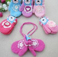 Dearie baby child thermal flower full finger gloves princess baby elastic velvet halter-neck gloves 25  infant hat
