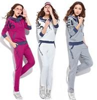2014 fashion autumn women's sportwears hoodie + pant prints sweatershirt tracksuits slim causal clothings set high quality 8810#