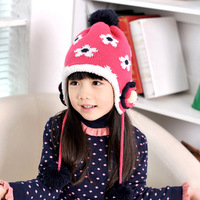 Child hat ear protector cap knitted hat baby autumn and winter warm hat female child knitted hat autumn and winter  infant hat
