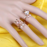 Cute Design Stylish Crystal Rabbit + Bowknot Ring for Girls Lady Women Korean Style,