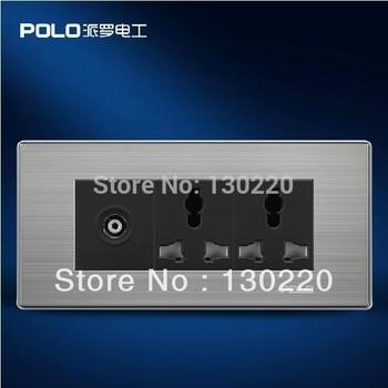 , POLO luxury wall socket panel, 110~250V, 6-hole TV Multifunction socket, power electrical ...