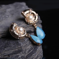 Women Lady Girls Conch Blue Water Drop Artificial Gemstone Earrings Ear Rings Ear Pendants Earbob,