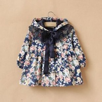 Hot Sale Pricess Style Autumn Coat For Girls/Free Shipping Beautiful Girls Windbreaker Printed
