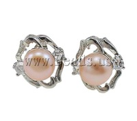 Free shipping!!!Freshwater Pearl Earrings,high quality, Cultured Freshwater Pearl, with Rhinestone & Brass, Flower, natural