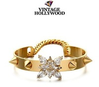 Vintage hollywood punk gem rivet bracelet female vintage fashion bracelet fashion