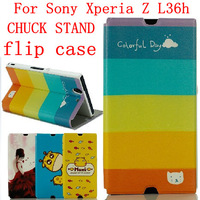 24 species pattern CHUCK STAND flip case for Sony Xperia Z case Sony Xperia Z cover L36h case L36i flip cover
