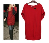 Drop Price 2014 New Arrival Fashion Style Autumn/Winter Women Dress Woolen Plus Size Clothing  Loose Dresses/Many Colors LD02